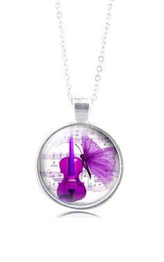 Cello necklace  purple violin necklace handmade in by milacrea
