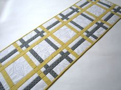 Gray and Yellow Quilted Table Runner
