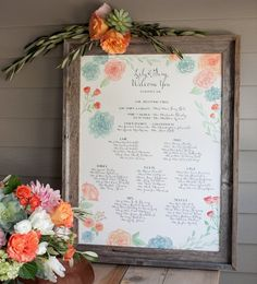 Hand painted watercolor seating chart with calligraphy, succulents and garden roses