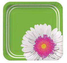 Daisy Power Square Paper Dessert Plates