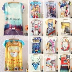 Women Summer Digital/Animal/floral Print Loose Casual T-shirt