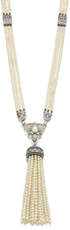 Art Deco seed pearl, sapphire and diamond sautoir, Circa 1910.     Designed as three rows of seed pearls highlighted at intervals with pierced square plaques, suspending an openwork pendant of tassel design set with calibré-cut sapphires, highlighted with circular- and single-cut diamonds, length approximately 770mm. Via Sotheby's.