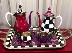 Painted Tea Set 3-piece // Whimsical от MicheleSpragueDesign