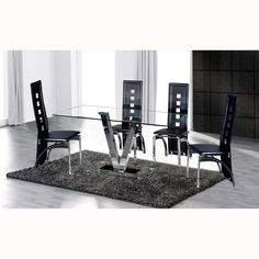 V Clear Glass Dining Table Only