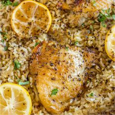 One Pot Greek Chicken and Rice with roasted lemon halves is a quick weeknight meal with garlic, lemon, and super flavorful seasoned rice pilaf. One Pot Greek Chicken and Rice is an easy dish you can m Lemon Chicken Rice, Lemon Chicken Thighs, One Pot Chicken, Baked Chicken, Butter Chicken, Chicken Thighs Cast Iron, Chicken Rice Bake, Chicken And Rice Dishes, Cracker Chicken