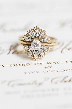 Vintage gold and diamond engagement ring #weddingring