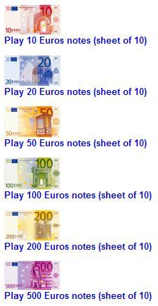printable euros, bills & coins