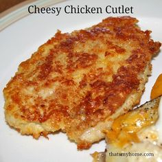 Cheesy Chicken Cutlets - Chicken breasts with a crispy cheesy coating. Recipes, Food and Cooking