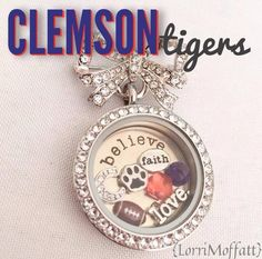 Clemson Tigers!! Whether they're your Alma-mater or someone you love. Show your team spirit at your next Origami Owl Jewelry Bar.