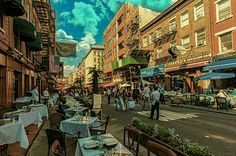 Mulberry Street NYC. Fine Outdoor Dining