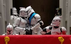 A take on the  royal wedding balcony kiss, which sees Prince William and Kate Middleton replaced by amorous Stormtroopers