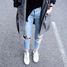 gray peacoat and ripped jeans / replace the shoes with penny loafers