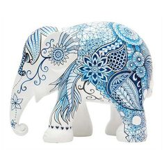 Buy the Elephant Parade 20 cm Indigo Tattoo hand painted elephant sculpture from homeArama and support the Asian Elephant Foundation. Elephant Colour, Elephant Love, Elephant Art, Elephant Design, Elephant Stuff, Ceramic Elephant, Ceramic Animals, Pottery Painting, Ceramic Painting