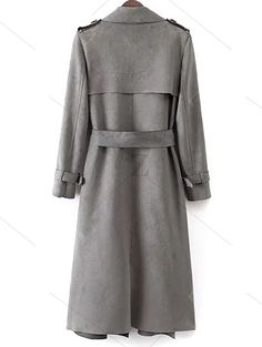 Faux Suede Long Trench Coat - GRAY S Mobile