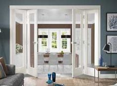 Home Improvement, Beautiful Choices on Bifold French Doors Interior: Amazing White Bifold French Doors Interior Bamboo Room Divider, Room Divider Doors, Divider Cabinet, Glass Room Divider, Interior Barn Doors, Home Interior, Interior Design, Double Doors Interior, Interior Decorating