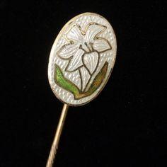 Lily Flower Stick Pin Sterling Silver Enamel