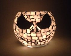 3 inch Mosaic Skeleton Votive. Black and by GreatEscapeMosaics