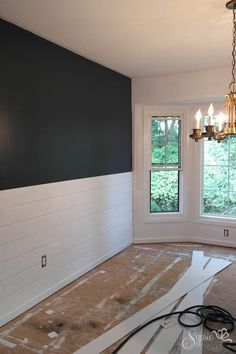 Navy walls and whitewashed shiplap .DIY Shiplap Inspired Wall Tutorial: An Easy and Inexpensive Project! New Homes, House, Home Remodeling, Home, Home Diy, Farmhouse Dining Room, Shiplap Wall Diy, Fixer Upper Shiplap, Home Decor