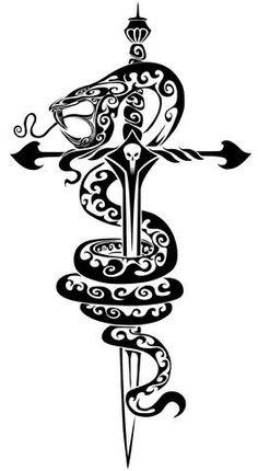 Amazing Tribal Tattoos sword snake skull Flash Art~A.R.