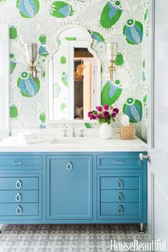 Powder Room A cheery wallpaper by Christopher Farr matches a vanity in Benjamin Moore's HC Buckland Blue. The floor tile is from Mosaic House. Bathroom Colors, Small Bathroom, Master Bathroom, Colorful Bathroom, Bathroom Designs, Washroom, Bathroom Ideas, Teen Bathrooms, Neutral Bathroom