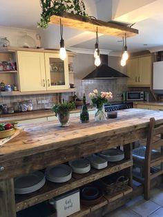 Farmhouse Kitchen Island, Rustic Farmhouse, Rustic Country Kitchens, Industrial Kitchen Island, Farmhouse Ideas, Rustic Cottage, Farmhouse Style, Barn Kitchen, Farm Kitchen Ideas