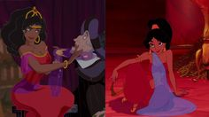 It seems like Disney only brings out the red dress for seduction purposes cuz both Esmeralda AND Jasmine wore red when they seduced Frollo and Jafar.  #HunchbackOfNotreDame #Aladdin #Flirting #Seduction #Red #RedTheme #DisneyMovies #DisneyPrincess #DisneyGirls #DisneyHeroines #DisneyPrincesses #Esmeralda #Dance #TalkDisneyToMe #Disnerd #DisneyLove #WaltDisneyAnimation #Animation
