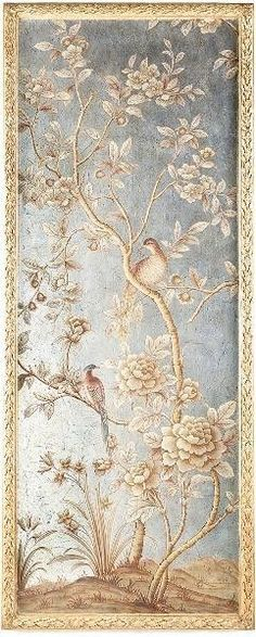 Silverleaf and Gold Chinoiserie Wall Panel 1-ON BACKORDER UNTIL DECEMBER 2015