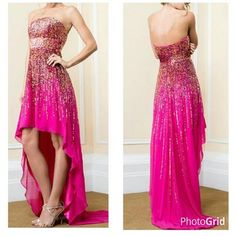 Strapless Sequined High-Low Prom Dress with Train. Sequins in varied colors run vertically downwards towards the hemline. & waistline has broad horizontal sequins pattern. Above knee length skirt in front & floor length at the back with train too. Back ...