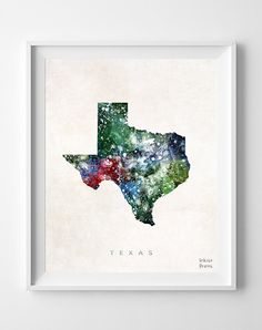 Texas Map Austin Poster Watercolor Painting by InkistPrints, $11.95 - Shipping Worldwide! [Click Photo for Details]