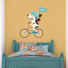 Display your child's initials with this super fun Puppy Riding a Bike three letter printed monogram! You may also leave initial field blank if you do not wish to purchase decal with initials.