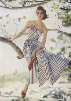 Anne St. Marie photographed at the Estate Carlton Hotel, St. Croix, Virgin Islands, by Roger Prigent, Vogue, May 1, 1957.