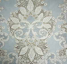Rococo Wallpaper A wide width damask wallpaper inspired by Indian block prints and rococo motifs designed by Melissa White. Printed in gold ...