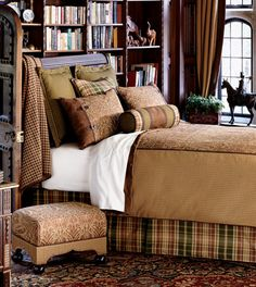 Sheffield luxury bedding -- paisley, plaid & check fabrics in shades of brown, tan and olive green -- masculine bedroom