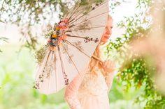 Bridal Ethereal Rose Flower Parasol