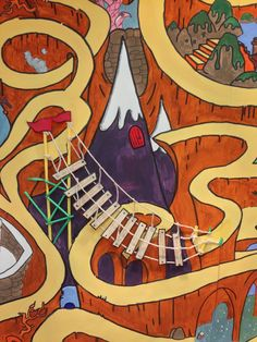 """A closer look at the rope bridge on our progress chart maze, designed by @jabberworks, for the @readingacency #SummerReadingChallenge 2014 """"Mythical Maze"""" mural in @VoGLibraries #Barry"""