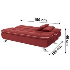 Sofá cama Mayara Linoforte 909 Vermelho Sofa Bed, Couch, Lounge, Furniture, Home Decor, Sleeper Couch, Rouge, Chairs, Beds