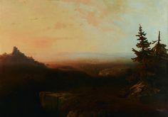 Thomas Moran (American, Hudson-River-School, Rocky-Mountain-School, Luminist, landscape painter, 1837–1926) Mountain Scene, c. 1865. Oil on canvas, 38 1/8 × 54 1/4 in (96.84 × 137.8 cm). Dallas Museum of Art, Dallas, Texas.