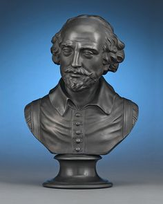 Antique Pottery, Wedgwood Black Basalt, Bust of William Shakespeare ~ M.S. Rau Antiques