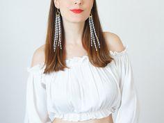 Bohemian Earrings Boho-Chic Fashion Statement Earrings White Earrings Gift For Her Bohemian Jewelry Tassel Earrings Fringe Earrings / MUCCIA