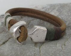FREE SHIPPING. Men's leather bracelet. Natural leather silver plated anchor clasp men's bracelet by colorfulpatterns on Etsy