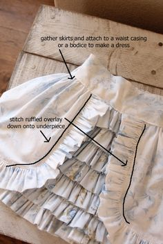 Free two-layer ruffle skirt tutorial. Diy Clothing, Sewing Clothes, Clothing Patterns, Sewing Patterns, Sewing Hacks, Sewing Tutorials, Sewing Projects, Sewing Crafts, Sewing For Kids