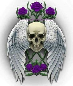 Skull wings purple roses