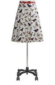 Digital bird print flared skirt