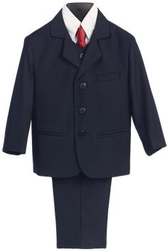 Navy Blue Single Breasted Dress Suit 5 Piece (Boys 6 months - size 16H)