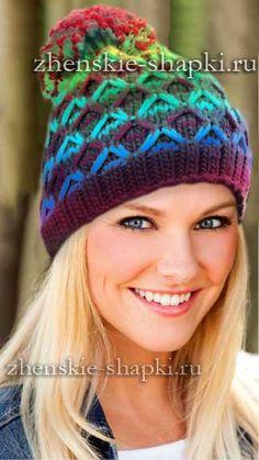 шапка спицами цветным узором