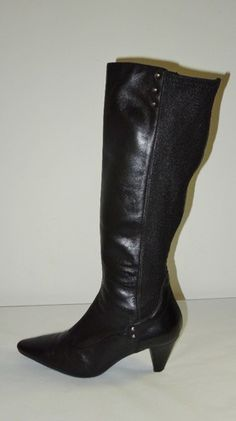Aquatalia Marvin K Black Leather Stretch Rivets Zipper Tall High Heel Boots 7M