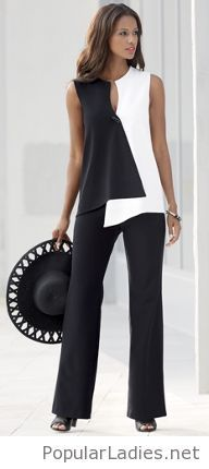 I love black and white outfits. Opposites Attract Pant Suit from Monroe and Main. Dramatic geometrics curve and contour your shape into ultra-modern flattery. Crossover style top has toggle closure. Look Fashion, Womens Fashion, Fashion Design, Fashion Kids, Diy Fashion, Beautiful Outfits, Casual Wear, Ideias Fashion, Fashion Dresses
