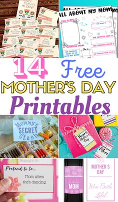 14 Mother's Day Printables, free mother's day printables, mother's day printable, printable mother's day gifts, Mother's day gift, Mother's Day printable, Free gift ideas for mom. Free Mother's Day Printables. You can use these super creative Free Mother's Day Printables to celebrate that special lady in your life.