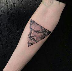 Tattoos 3d, Mini Tattoos, Black Tattoos, Body Art Tattoos, Small Tattoos, Tattoos For Guys, Tatoos, Zeus Tattoo, Statue Tattoo