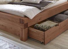 SAM® beam bed solid wood bed with box spruce ELIAS In stock! Wood Bed Design, Bed Frame Design, Welded Furniture, Pallet Furniture, Platform Bed Designs, Simple Furniture, Wood Beds, Living Styles, Headboards For Beds